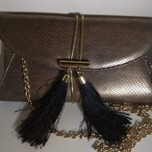 Kate Landry Bronze Envelope Clutch with Tassels